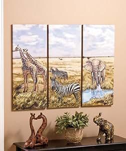 Set Of 3 Decorative African Safari Elephant