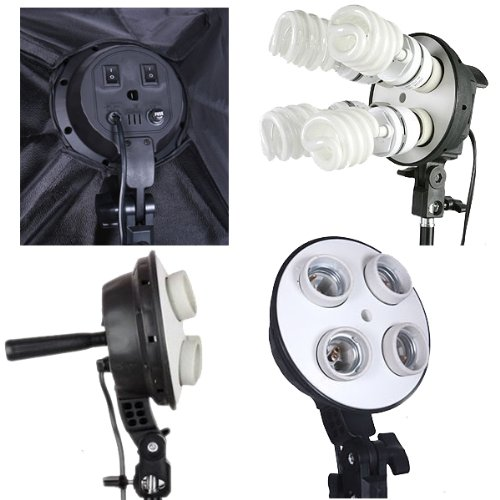 Leadasy Four E27 Socket Photo Light Head Umbrella Hole