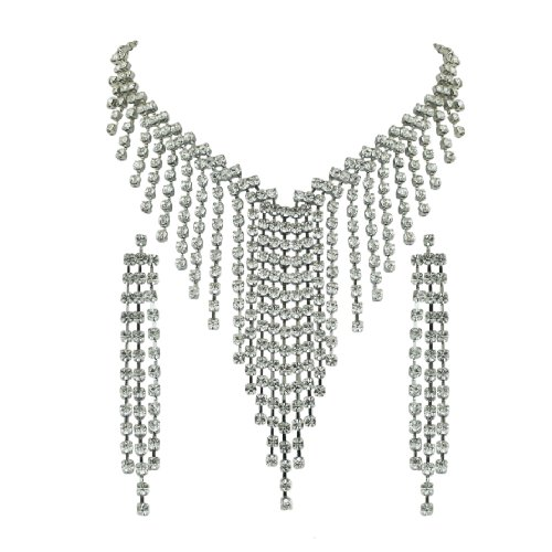 Brass Rhodium 16 inches + 2.5 Inches extensions Necklace Earrings Colorless Crystal Soft Link V shape Tassle