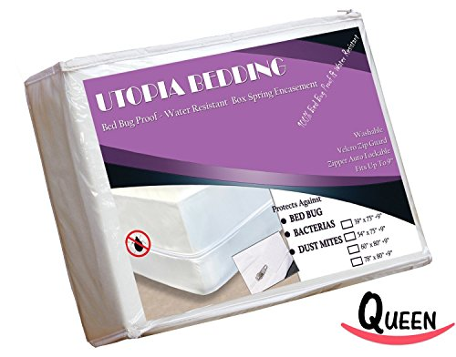 Cheapest Price! Utopia Bedding Bed Bug Proof Box Spring Encasement, Protects Against Dust Mites, Bacteria, and Allergens, Preserves Box Spring Mattress (Queen)