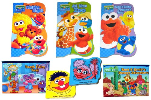 """7 Sesame Street Books For Kids - Three (3) Sesame Street Board Books (""""Bubbles, Bubbles"""", """"Nighty-Night"""", And """"At The Zoo""""), Two Sesame Street Foam Books (""""Ernie'S Cheerful Smile"""" And """"Good Job, Abby!""""), And Two Sesame Street Pop-Up Books (""""Tooth Fairies"""