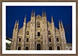 WallsnArt, Architecture Modern Framed Art Work Painting With Glass,Italy, Milan Province, Milan. Milan Cathedral, Evening.
