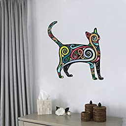 Colorful Cat Kitty - Peel and Stick - Removable Wall Decal - 18\