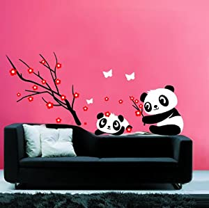 Modern house panda and red cherry blossom for Amazon wall mural