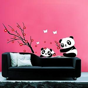 Amazon.com : Modern House Panda and Red Cherry Blossom Vinyl Mural Art