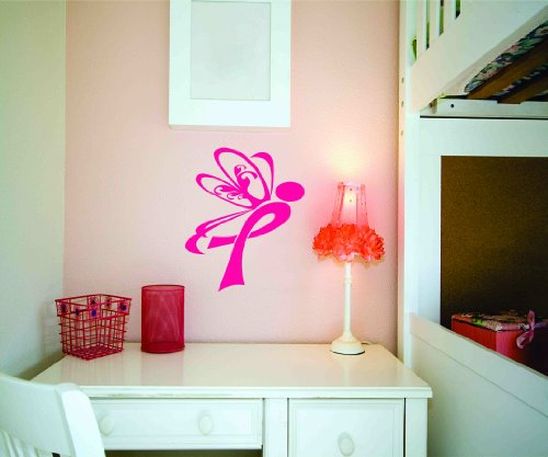 Design With Vinyl Dark Pink - Star 1233 - 2 Breast Cancer Awareness Butterfly Person Design Vinyl Wall Decal, 15-Inch X 30-Inch, Dark Pink front-897244