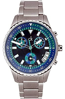 CK Calvin Klein K3217378 Men's Chronograph,Black, Blue & Green Dial,100m WR