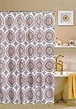 "Eclipse Shower Curtain, 70""x70"", Brown & Pink Circle Design"