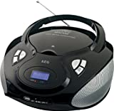 AEG SR 4336 Tragbares Stereo Radio (CD/MP3-Player, MW/UKW-Tuner, 60 Watt PMPO, USB) schwarz