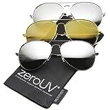 zeroUV - Premium Mirrored Aviator Top Gun Sunglasses w/ Spring Loaded Temples