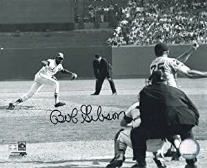 Bob Gibson Autographed St Louis Cardinals 8x10 B&W Photo by DenverAutographs
