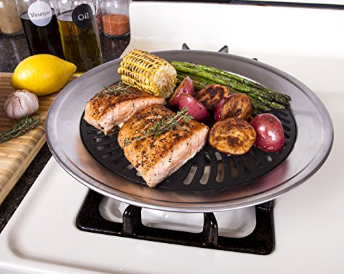 Kitchen + Home Stove Top Smokeless Grill Indoor BBQ, Stainless Steel with Double Coated Non Stick Surface (Small Grill Pan For Oven compare prices)