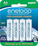 SANYO NEW 1500 eneloop 4 Pack AA Ni-MH Pre-Charged Rechargeable Batteries