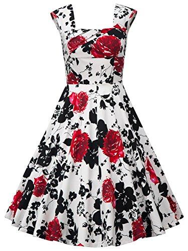 BeautyCreator Women's 50s 60s Vintage Cocktail Rockabilly Swing Party Dress (S, Swing Red Floral)