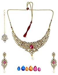 Bling N Beads Gold Coloured 18K Yellow Gold Plated Alloy Necklace, Earring & Maang Tikka Set For Women - B00WZFT74I