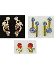 DollsofIndia Three Pairs Of Multicolor Small Stone Setting Stud Earrings - Stone And Metal - Multicolor