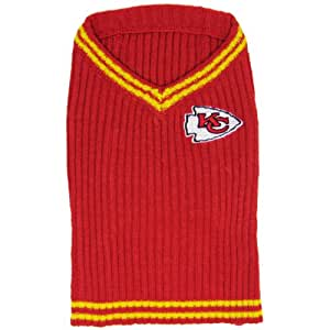 Pets First NFL Kansas City Chiefs V-Neck Dog Sweater, X-Small