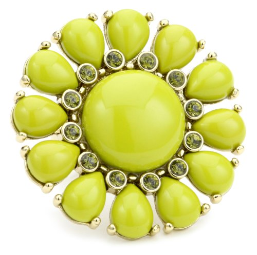 Kate Spade New York Glossy Green Garden Ring, Size 7