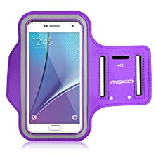 buy Galaxy S7 / S7 Edge Armband, Moko Sports Armband For Samsung Galaxy S7 / S7 Edge / Note 5 / S6 Edge+, Key Holder & Card Slot, Sweat-Proof, Purple (Compatible With Cellphones Up To 5.7 Inch)