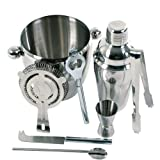 Jago CKTS01 Stainless steel Cocktail Set 8pc including cocktail-shaker, jigger, strainer, spoon and waiter�s knifeby Jago