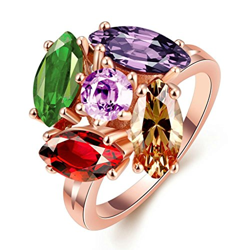 18K Rose Gold Plated Women Bohemia Ring US Size 8 Plant Shape Multicolor & Rose Gold CZ - Adisaer Jewelry (Dr Who Engagement Ring compare prices)