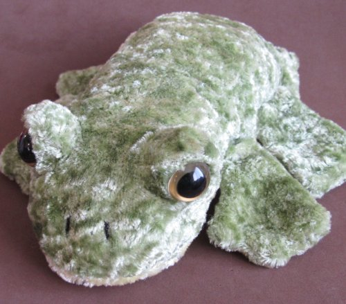 "Caltoy GREEN & YELLOW Color ""FROG"" PLUSH HAND PUPPET GLOVE w YELLOWY Inset EYES - 1"