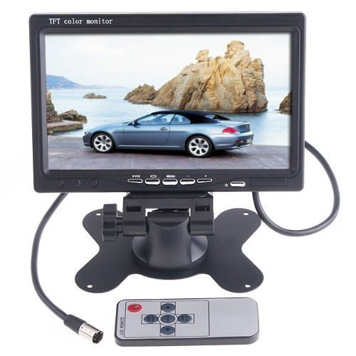 "Sunbeauty® 7"" Tft Lcd Color 2 Video Input Car Rearview Headrest Monitor Dvd Vcr Monitor With Remote And Stand & Support Rotating The Screen"