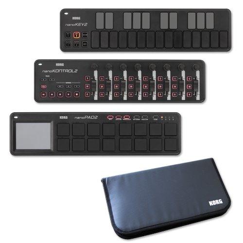 KORG コルグ USB-MIDI コントローラー nanoKEY2+nanoKONTROL2+nanoPAD2+専用モバイルケース 限定セット ブラック