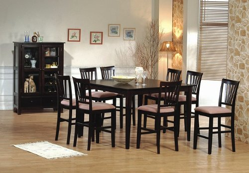 sets 9pc cappuccino wood counter height dining table 8 bar stools