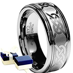 Tungsten Ring -Tungsten Carbide Laser Engraved Celtic Mens Wedding Band Ring-Size W by EIC
