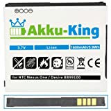 Akku-King Li-Ion Battery for HTC A8181 / Bravo / Desire / Dragon / Zoom 2 / Google Nexus One / G5 / N1 - replaces BA S410 - 1600mAh