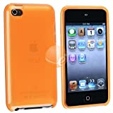 TPU Rubber Skin Case Compatible With Apple iPod Touch 4th Gen, Clear Frost Orangeby eForCity