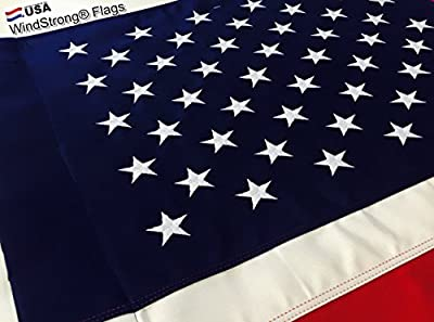 Windstrong® 2.5x4 FT 30x48 US American Flag (Pole Sleeve-Banner Style) Commercial 2 Ply Polyester (Embroidered Stars Sewn Stripes) 100% Made in the USA