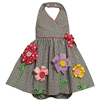 Size-6/9M BNJ-3168M 2-Piece BLACK WHITE BUTTON-CENTER FLOWER STEM GINGHAM CHECK HALTER SEERSUCKER Spring Summer Party Dress,M03168 Bonnie Jean Baby/NEWBORN