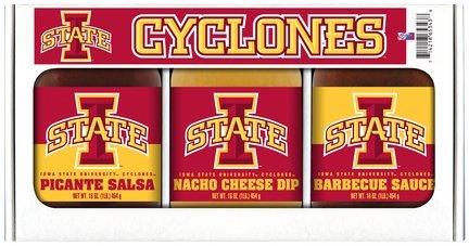 Iowa State Cyclones Ncaa Triple Play Gift Set (16Oz BBQ Sauce, 16Oz Picante Salsa, 16Oz Cheeze Dip)