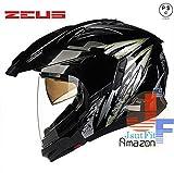 バイク ヘルメット システムヘルメット 顎の部分が取り外せる ジェットに変身可能 PSC付き 多色  男女通用 ダブルシールド オフロードヘルメット ZEUS-613B[商品7/XXL]