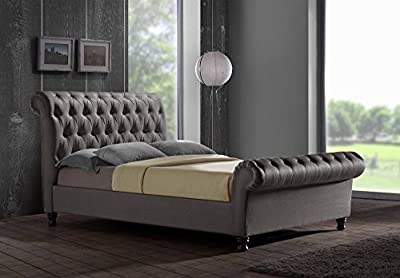 CHESTERFIELD CASTELLO Classy Modern Bed Frame Sleigh Style Fully Upholstered Designer bed in Chenille Fabric (5FT KINGSIZE, Chenille- Steel Grey)