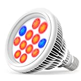 LED Grow Light bulb, Lemontec High Efficient Hydroponic Plant Grow Lights system for Garden Greenhouse and Hydroponic Aquatic,12W