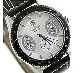 【バックスケルトン/選べる3色】機械式 カレンダー 付き メンズ 腕時計 レザー ビッグフェイス スチームパンク ステンレス アンティーク (C ホワイト)