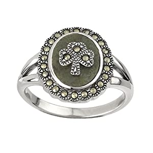 Silver with Connemara Marble and Marcasite Shamrock Ring-Size 9