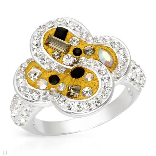Ring With Genuine Crystals Made of Yellow Enamel and 925 Sterling silver. Total item weight 6.4g (Size 7)