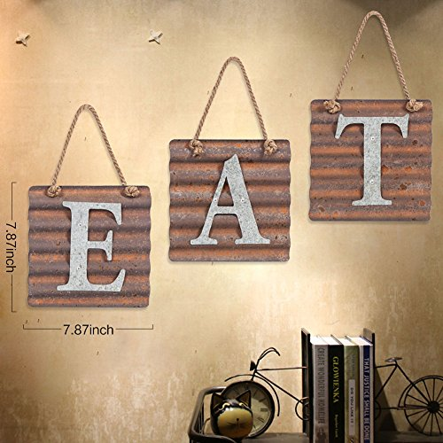 Xing Cheng Wall Metal Plaque Sign Eat Letter Sign Wavy Metal Plate for Kitchen 6