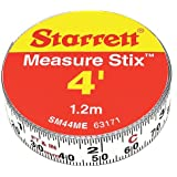 "Starrett Measure Stix SM44ME Steel White Measure Tape with Adhesive Backing, English/Metric Graduation Style, Left To Right Reading, 4' (1.2m) Length, 0.5"" (13mm) Width, 0.0625"" Graduation Interval"