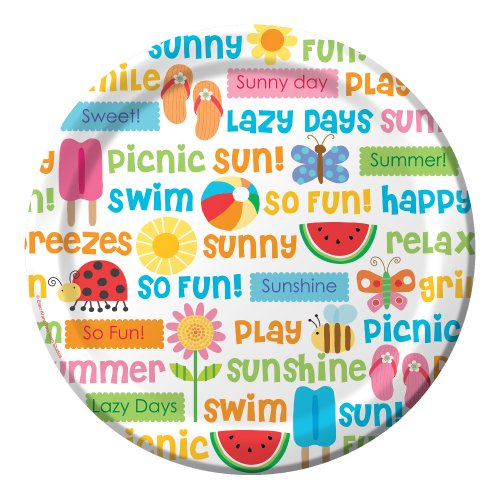 Creative Converting 8 Count Round Paper Dinner Plates, Lazy Days