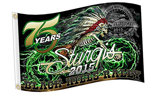 2015 Sturgis Rally MOTORCYCLE FLAG (3' X 5') Skeleton Cycle BIKER FLAG