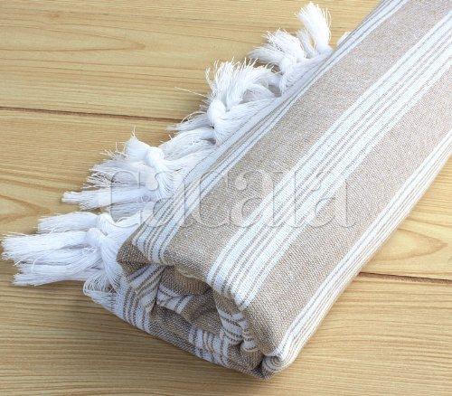 "Turkish Towel Peshtemal For Hamam Bathrobe Spa Pool Massage Sauna Beach Yacht Gym Fitness Kitchen Yoga Baby Towel Picnic Blanket 100% Cotton Table Throw Bath Accessories ""Beige"""