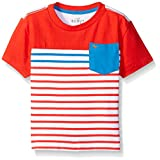 Scout + Ro Boys' Short Sleeve Color Block Breton Stripe Tee, Holly Red, 12