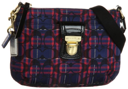 Coach Pop Tartan Swingpack Crossbody Handbag Purse Navy Multi
