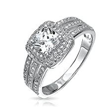 buy Bling Jewelry Micropave Triple Shank Cushion Engagement Ring Cz 925 Sterling Silver