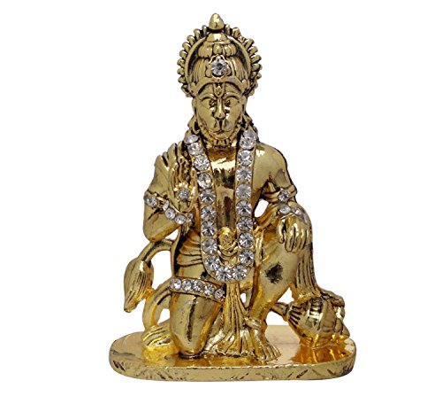 Discount4product Lord Hanuman Car Dashboard God Idol (golden)